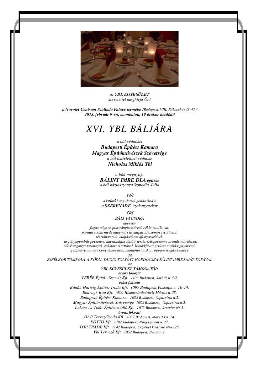 XVI.Ybl Bál meghívó