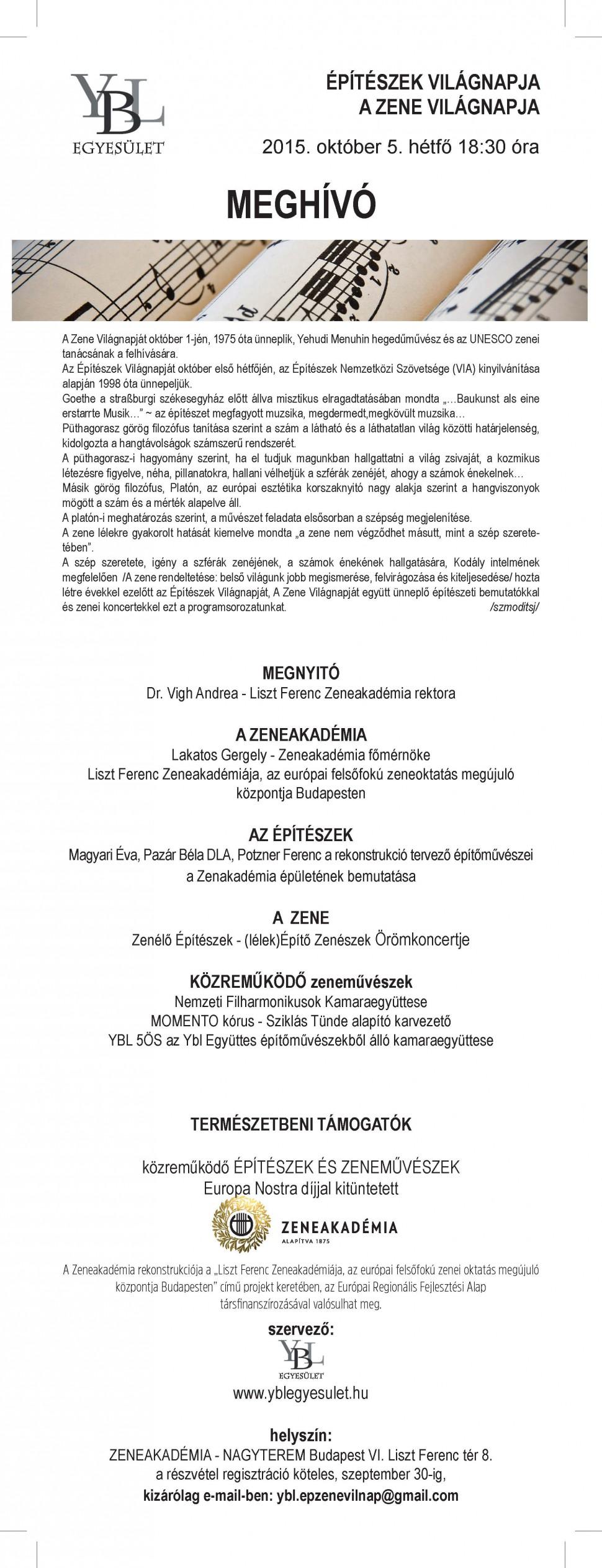 ZENEAKADÉMIA_V.Építészek és Zene Világnapja